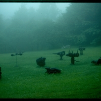 Morgan Bulkeley'swork, Sculpture Field in Fog